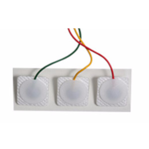 ECG Prewired Electrode 3-lead IEC SQ, radio translucent, square solid gel, 300 electrodes/case